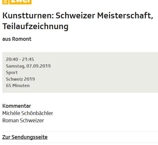 schweizermeisterschaft TV